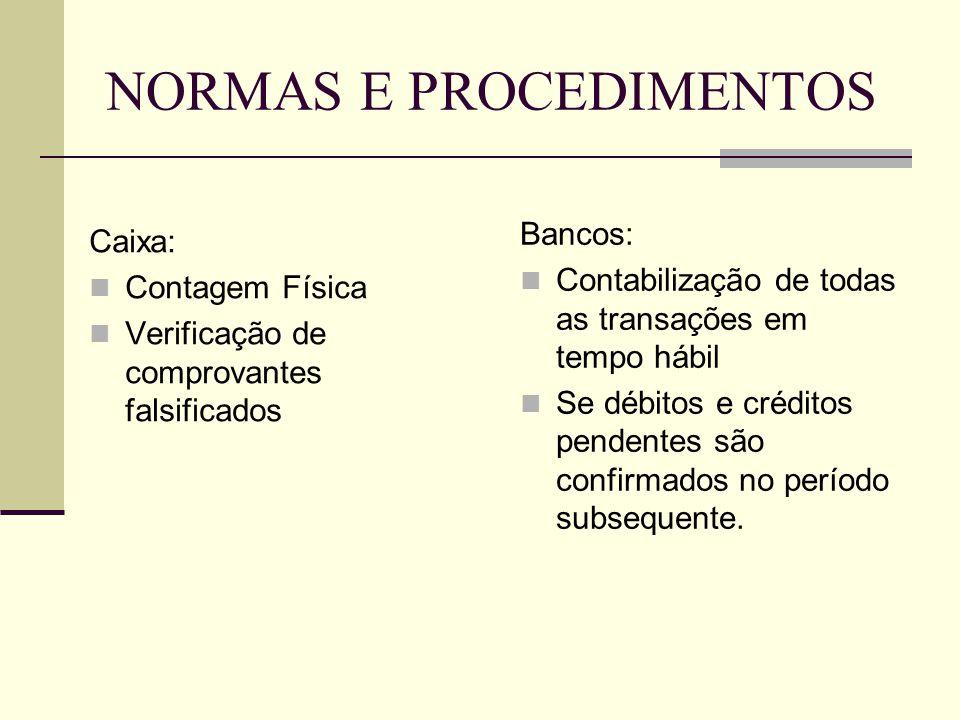 NORMAS E PROCEDIMENTOS Caixa:  Contagem Física  Verificação de comprovantes falsificados Bancos:  Contabilização de todas as transações em tempo há