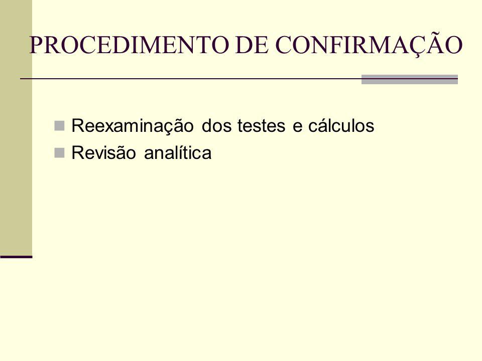 PROCEDIMENTO DE CONFIRMAÇÃO  Reexaminação dos testes e cálculos  Revisão analítica