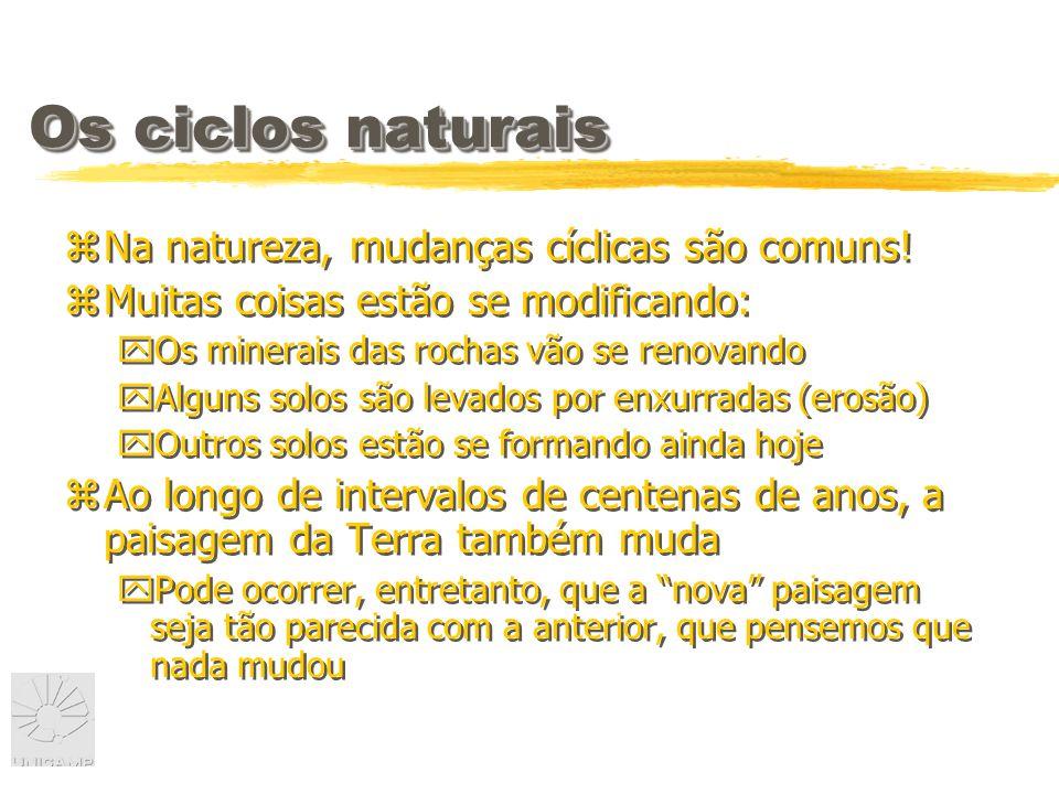 Os ciclos naturais zNa natureza, mudanças cíclicas são comuns.