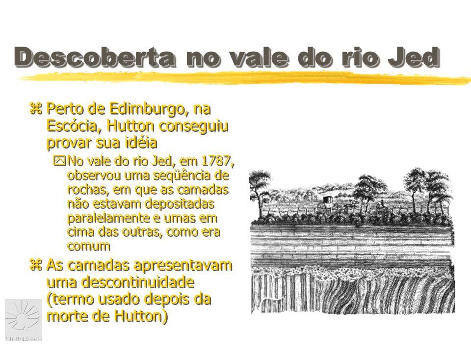 Descoberta no vale do rio Jed zPerto de Edimburgo, na Escócia, Hutton conseguiu provar sua idéia yNo vale do rio Jed, em 1787, observou uma seqüência de rochas, em que as camadas não estavam depositadas paralelamente e umas em cima das outras, como era comum zAs camadas apresentavam uma descontinuidade (termo usado depois da morte de Hutton) zPerto de Edimburgo, na Escócia, Hutton conseguiu provar sua idéia yNo vale do rio Jed, em 1787, observou uma seqüência de rochas, em que as camadas não estavam depositadas paralelamente e umas em cima das outras, como era comum zAs camadas apresentavam uma descontinuidade (termo usado depois da morte de Hutton)