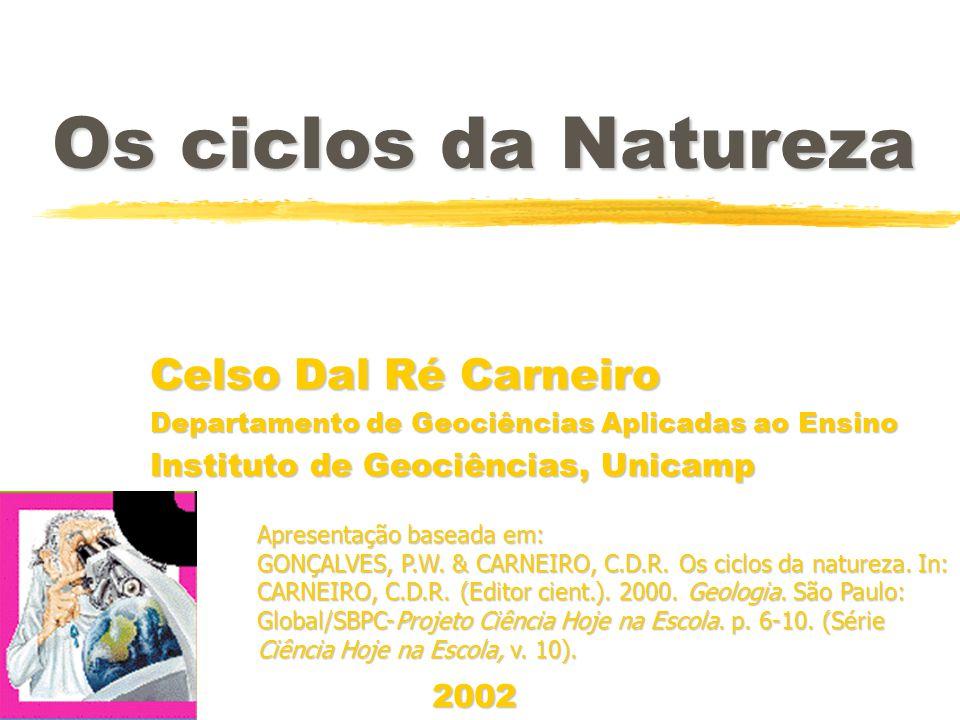 Os ciclos da Natureza Celso Dal Ré Carneiro Departamento de Geociências Aplicadas ao Ensino Instituto de Geociências, Unicamp Celso Dal Ré Carneiro Departamento de Geociências Aplicadas ao Ensino Instituto de Geociências, Unicamp Apresentação baseada em: GONÇALVES, P.W.
