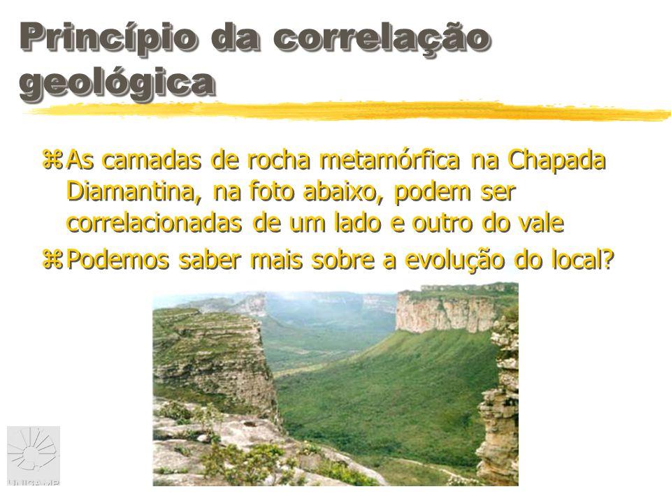 Princípio da correlação geológica zAs camadas de rocha metamórfica na Chapada Diamantina, na foto abaixo, podem ser correlacionadas de um lado e outro do vale zPodemos saber mais sobre a evolução do local.