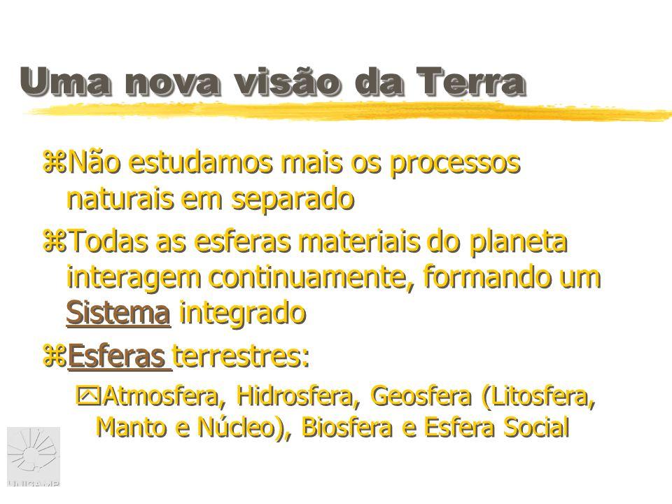 Uma nova visão da Terra zNão estudamos mais os processos naturais em separado zTodas as esferas materiais do planeta interagem continuamente, formando um Sistema integrado Sistema zEsferas terrestres:Esferas yAtmosfera, Hidrosfera, Geosfera (Litosfera, Manto e Núcleo), Biosfera e Esfera Social zNão estudamos mais os processos naturais em separado zTodas as esferas materiais do planeta interagem continuamente, formando um Sistema integrado Sistema zEsferas terrestres:Esferas yAtmosfera, Hidrosfera, Geosfera (Litosfera, Manto e Núcleo), Biosfera e Esfera Social