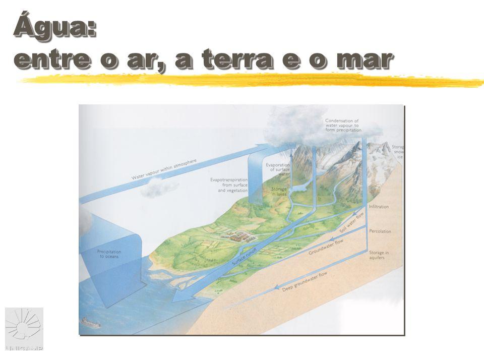 Água: entre o ar, a terra e o mar Atmosfera 0,001%
