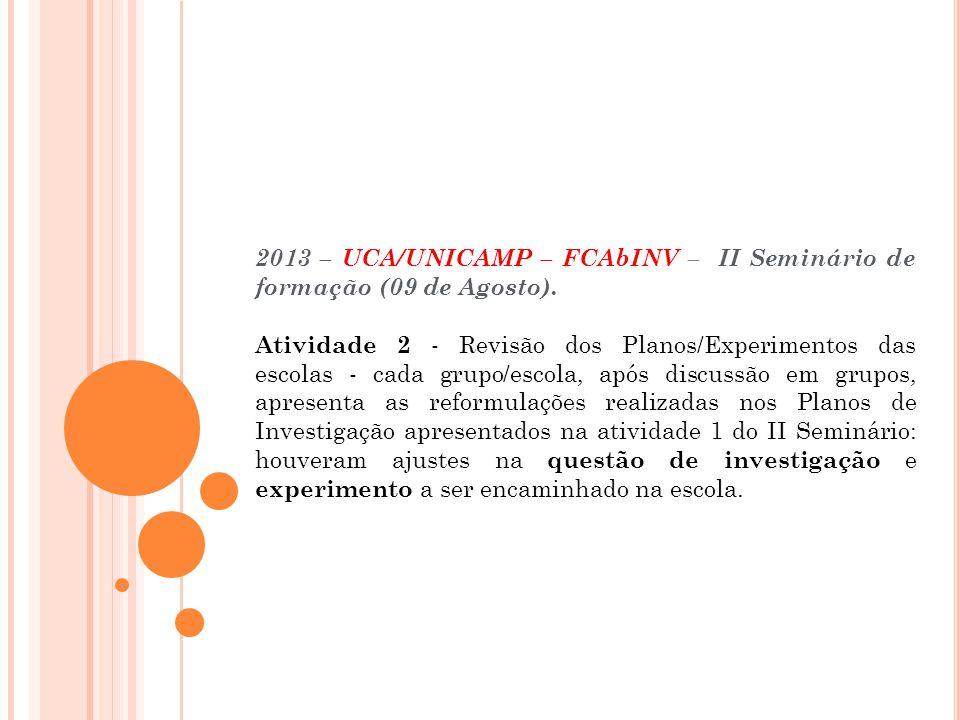 Escola Municipal de Ensino Fundamental Elza Maria Pellegrini de Aguiar – Campinas/SP 2013 – UCA/UNICAMP – FCAbINV – II Seminário de formação (09 de Agosto).