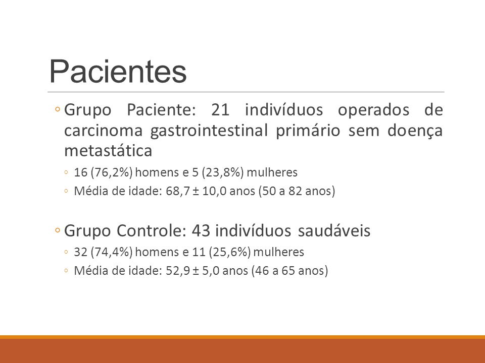 Pacientes ◦Grupo Paciente: 21 indivíduos operados de carcinoma gastrointestinal primário sem doença metastática ◦16 (76,2%) homens e 5 (23,8%) mulhere