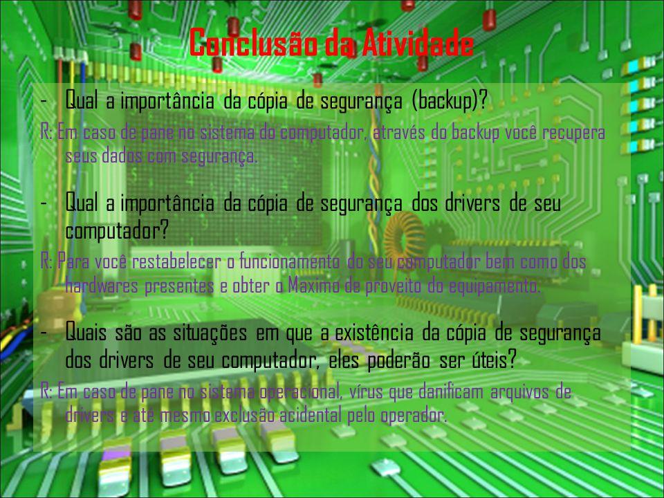 Conclusão da Atividade -Qual a importância da cópia de segurança (backup)? R: Em caso de pane no sistema do computador, através do backup você recuper