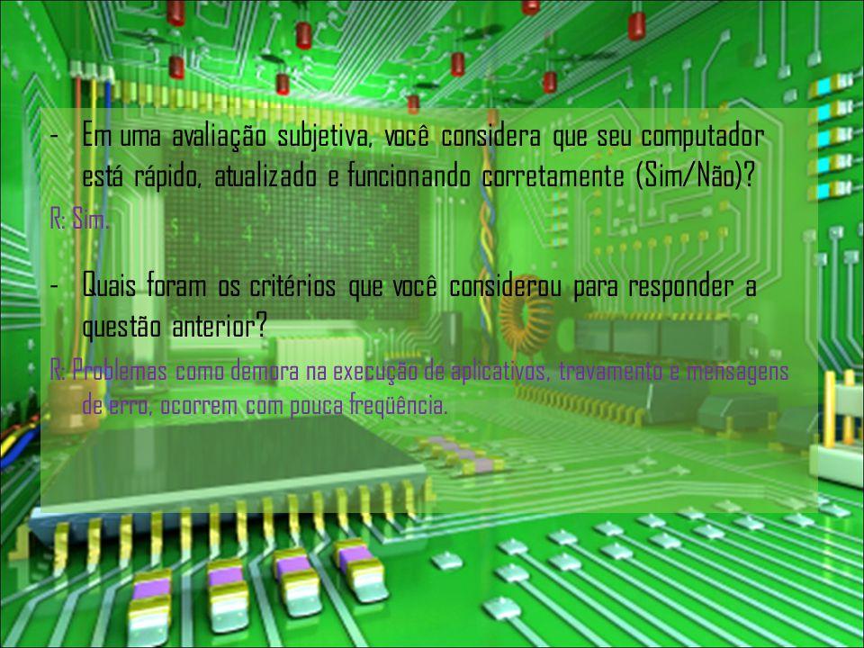 -Em uma avaliação subjetiva, você considera que seu computador está rápido, atualizado e funcionando corretamente (Sim/Não).