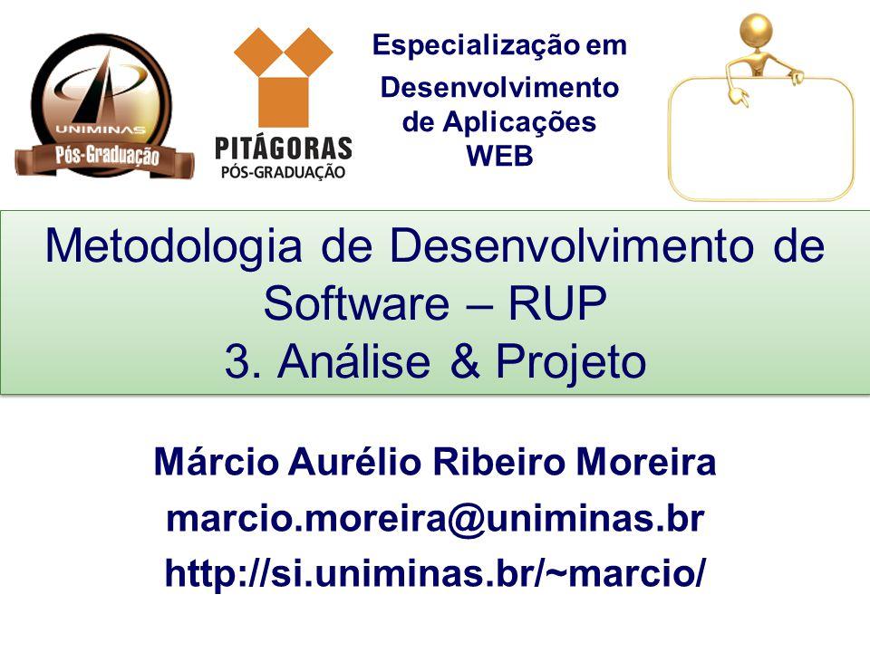 Especialização em Desenvolvimento de Aplicações WEB Metodologia de Desenvolvimento de Software – RUP 3. Análise & Projeto Márcio Aurélio Ribeiro Morei