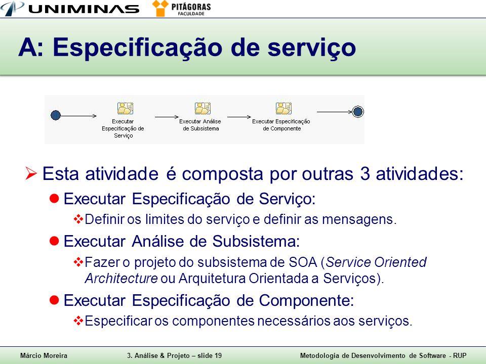 Márcio Moreira3. Análise & Projeto – slide 19Metodologia de Desenvolvimento de Software - RUP A: Especificação de serviço  Esta atividade é composta