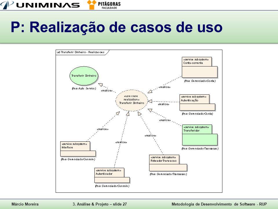 Márcio Moreira3. Análise & Projeto – slide 27Metodologia de Desenvolvimento de Software - RUP P: Realização de casos de uso