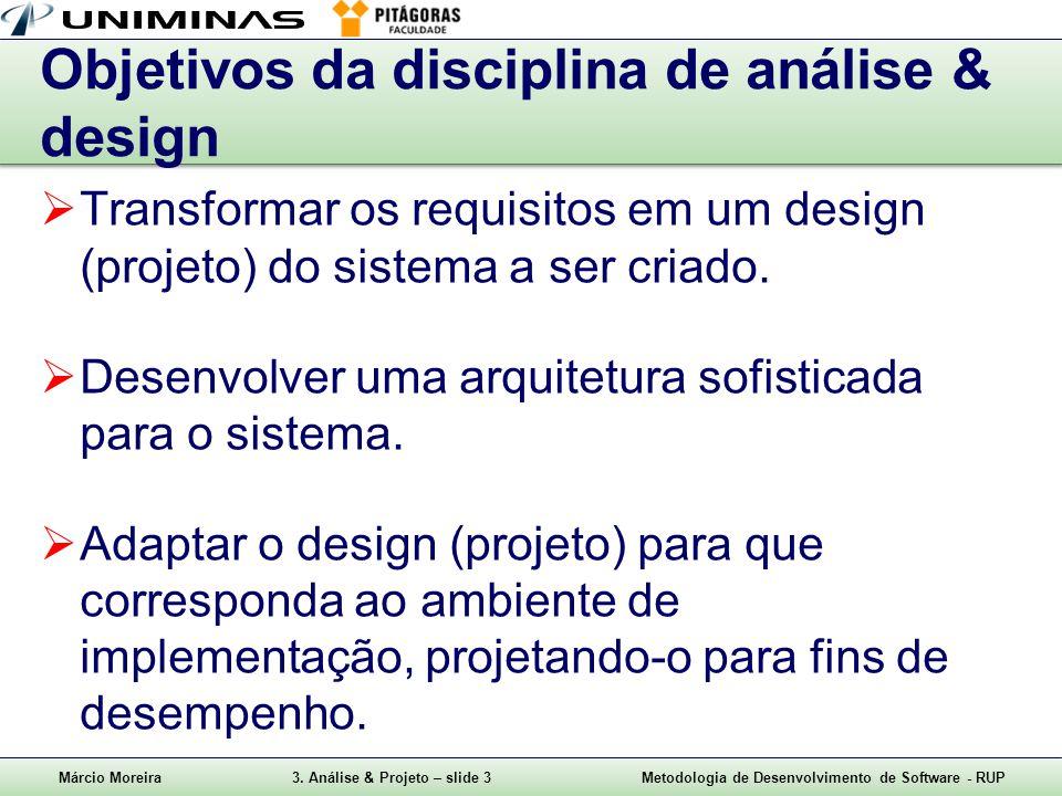 Márcio Moreira3. Análise & Projeto – slide 3Metodologia de Desenvolvimento de Software - RUP Objetivos da disciplina de análise & design  Transformar