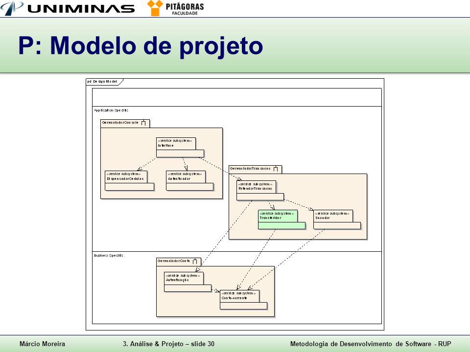 Márcio Moreira3. Análise & Projeto – slide 30Metodologia de Desenvolvimento de Software - RUP P: Modelo de projeto