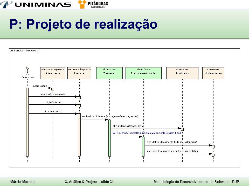Márcio Moreira3. Análise & Projeto – slide 31Metodologia de Desenvolvimento de Software - RUP P: Projeto de realização