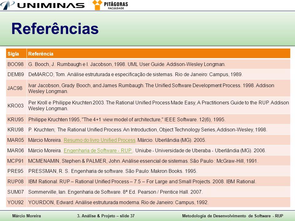 Márcio Moreira3. Análise & Projeto – slide 37Metodologia de Desenvolvimento de Software - RUP Referências SiglaReferência BOO98G. Booch, J. Rumbaugh e