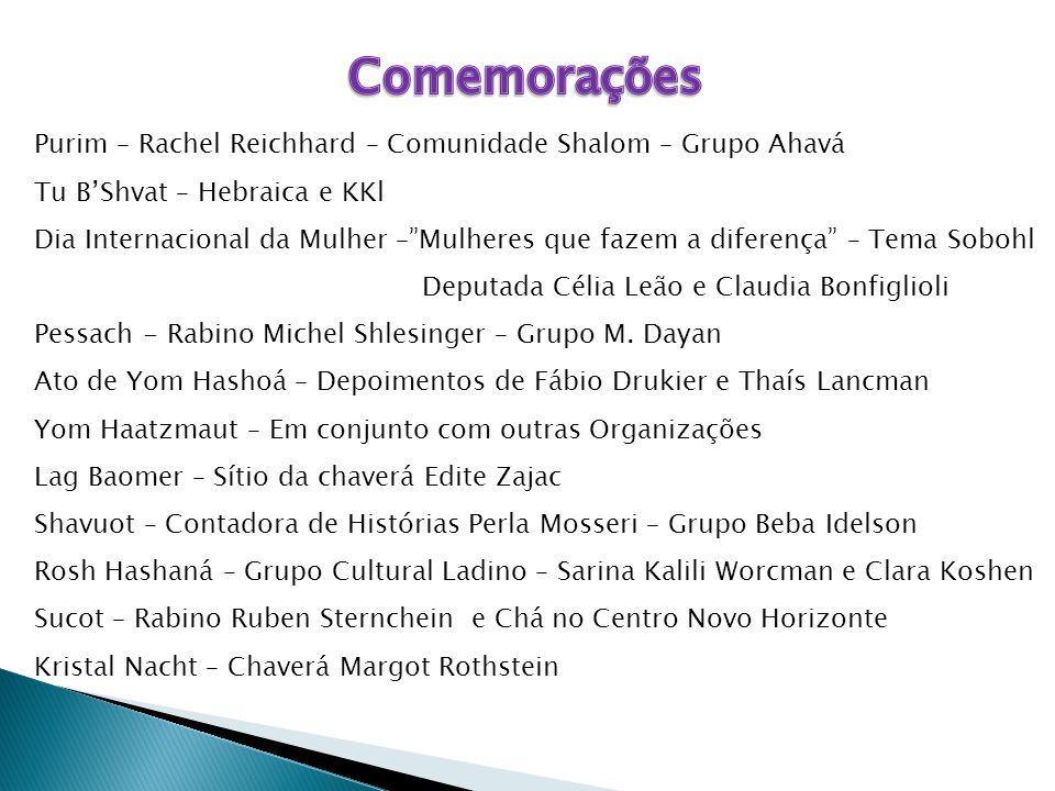 """Purim – Rachel Reichhard – Comunidade Shalom – Grupo Ahavá Tu B'Shvat – Hebraica e KKl Dia Internacional da Mulher –""""Mulheres que fazem a diferença"""" –"""