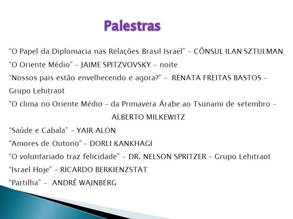 """""""O Papel da Diplomacia nas Relações Brasil Israel"""" – CÔNSUL ILAN SZTULMAN """"O Oriente Médio"""" – JAIME SPITZVOVSKY - noite """"Nossos pais estão envelhecend"""