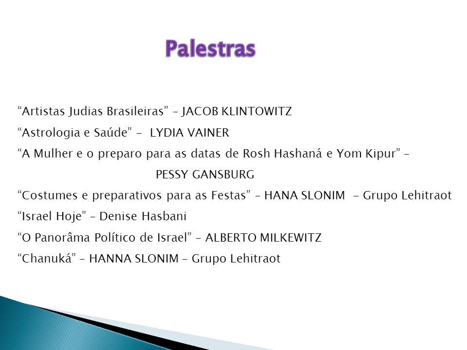 """""""Artistas Judias Brasileiras"""" – JACOB KLINTOWITZ """"Astrologia e Saúde"""" - LYDIA VAINER """"A Mulher e o preparo para as datas de Rosh Hashaná e Yom Kipur"""""""