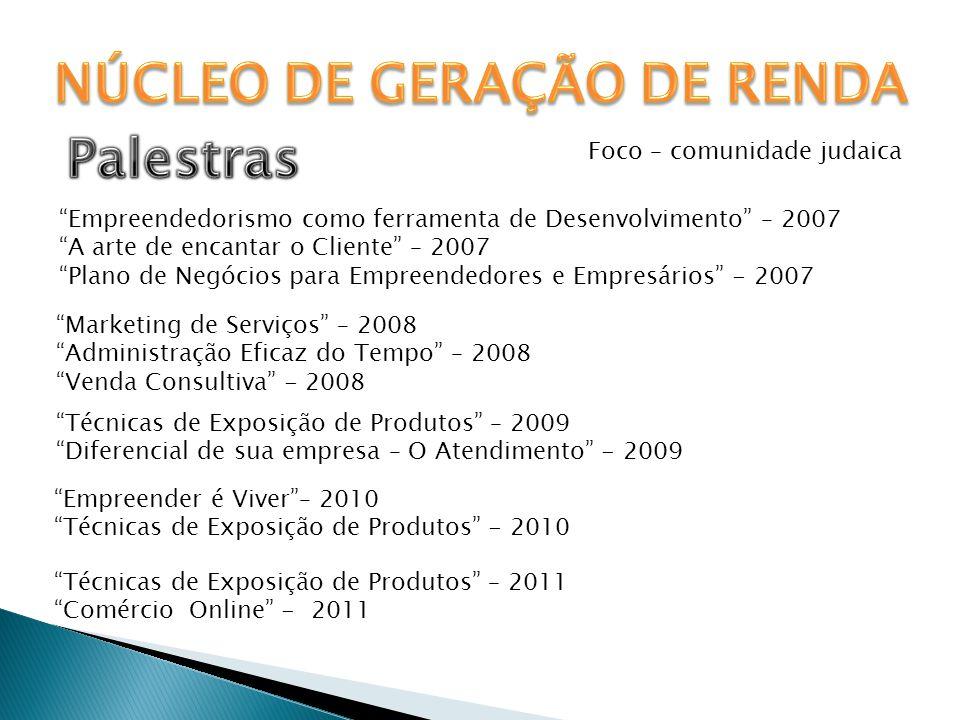 """Foco – comunidade judaica """"Empreendedorismo como ferramenta de Desenvolvimento"""" – 2007 """"A arte de encantar o Cliente"""" – 2007 """"Plano de Negócios para E"""