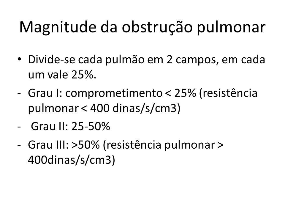 Magnitude da obstrução pulmonar • Divide-se cada pulmão em 2 campos, em cada um vale 25%. -Grau I: comprometimento < 25% (resistência pulmonar < 400 d