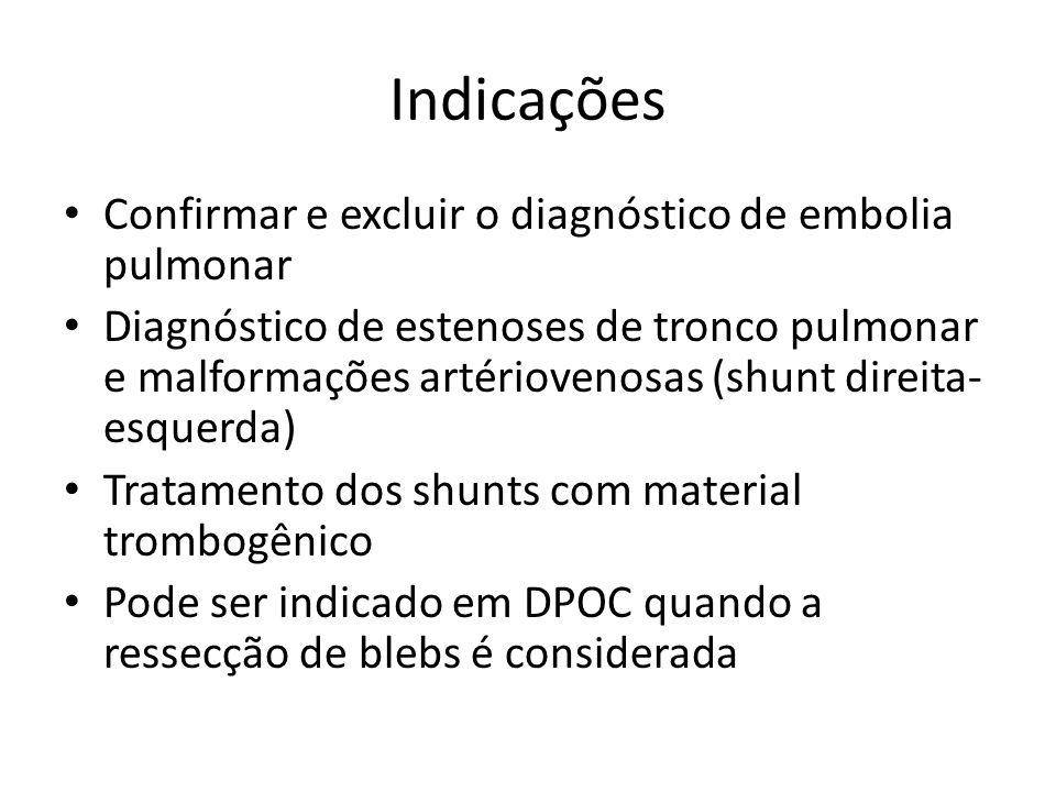 Indicações • Confirmar e excluir o diagnóstico de embolia pulmonar • Diagnóstico de estenoses de tronco pulmonar e malformações artériovenosas (shunt