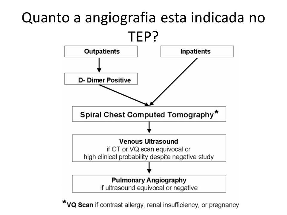 Quanto a angiografia esta indicada no TEP?