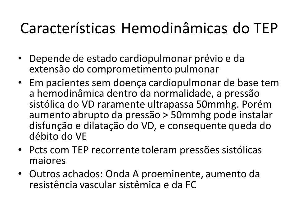 Características Hemodinâmicas do TEP • Depende de estado cardiopulmonar prévio e da extensão do comprometimento pulmonar • Em pacientes sem doença car
