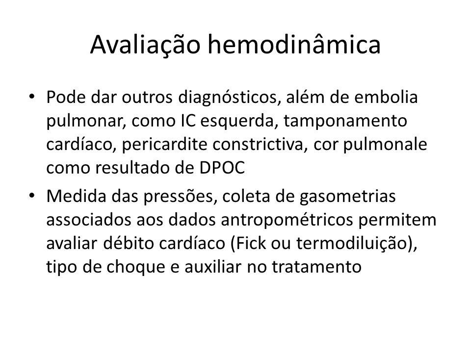Avaliação hemodinâmica • Pode dar outros diagnósticos, além de embolia pulmonar, como IC esquerda, tamponamento cardíaco, pericardite constrictiva, co