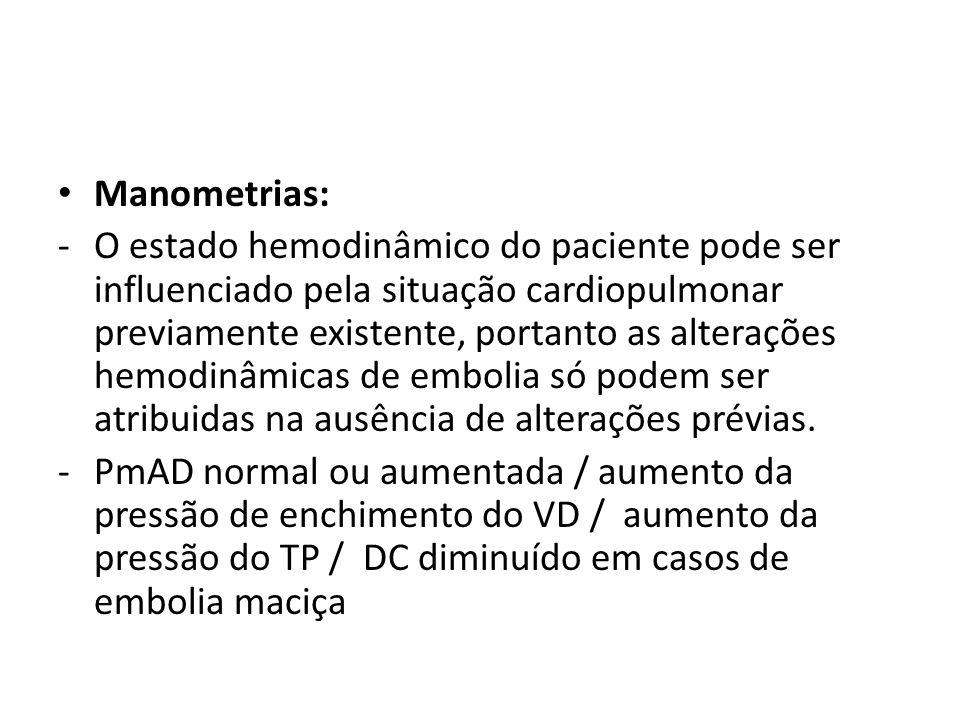 • Manometrias: -O estado hemodinâmico do paciente pode ser influenciado pela situação cardiopulmonar previamente existente, portanto as alterações hem