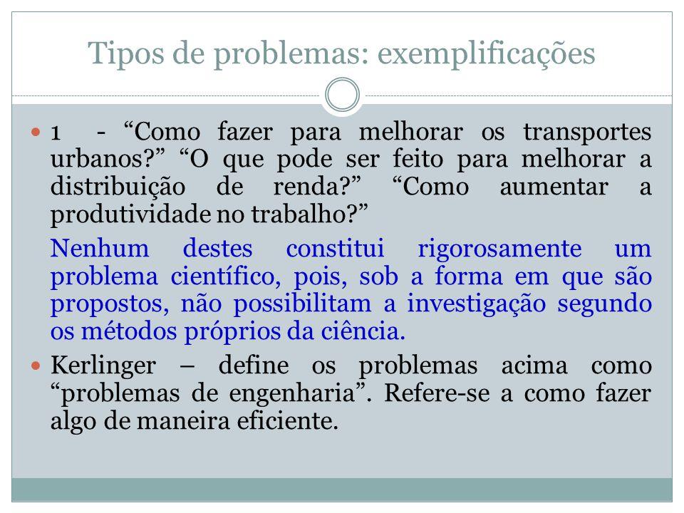 """Tipos de problemas: exemplificações  1 - """"Como fazer para melhorar os transportes urbanos?"""" """"O que pode ser feito para melhorar a distribuição de ren"""
