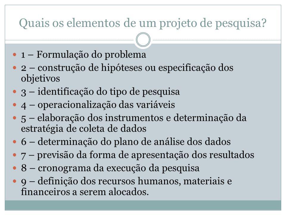 Quais os elementos de um projeto de pesquisa?  1 – Formulação do problema  2 – construção de hipóteses ou especificação dos objetivos  3 – identifi