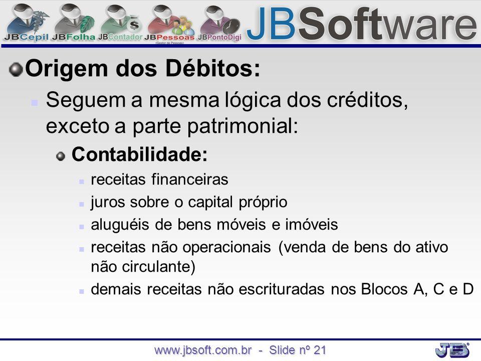 www.jbsoft.com.br - Slide nº 21 Origem dos Débitos:   Seguem a mesma lógica dos créditos, exceto a parte patrimonial: Contabilidade:   receitas fi