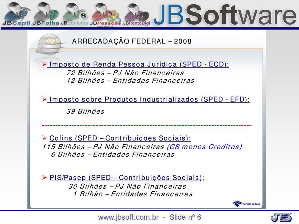 www.jbsoft.com.br - Slide nº 7 Qual é o modelo de cálculos e declarações antecessores a EFD PIS/COFINS.