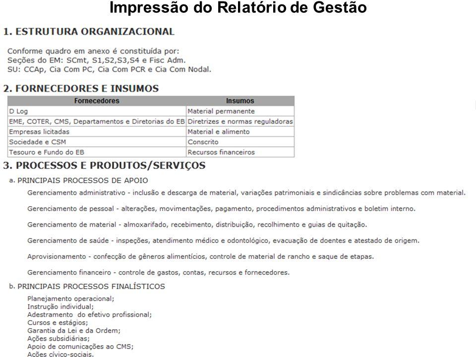 Impressão do Relatório de Gestão