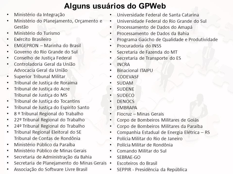 Alguns usuários do GPWeb • Ministério da Integração • Ministério do Planejamento, Orçamento e Gestão • Ministério do Turismo • Exército Brasileiro • E