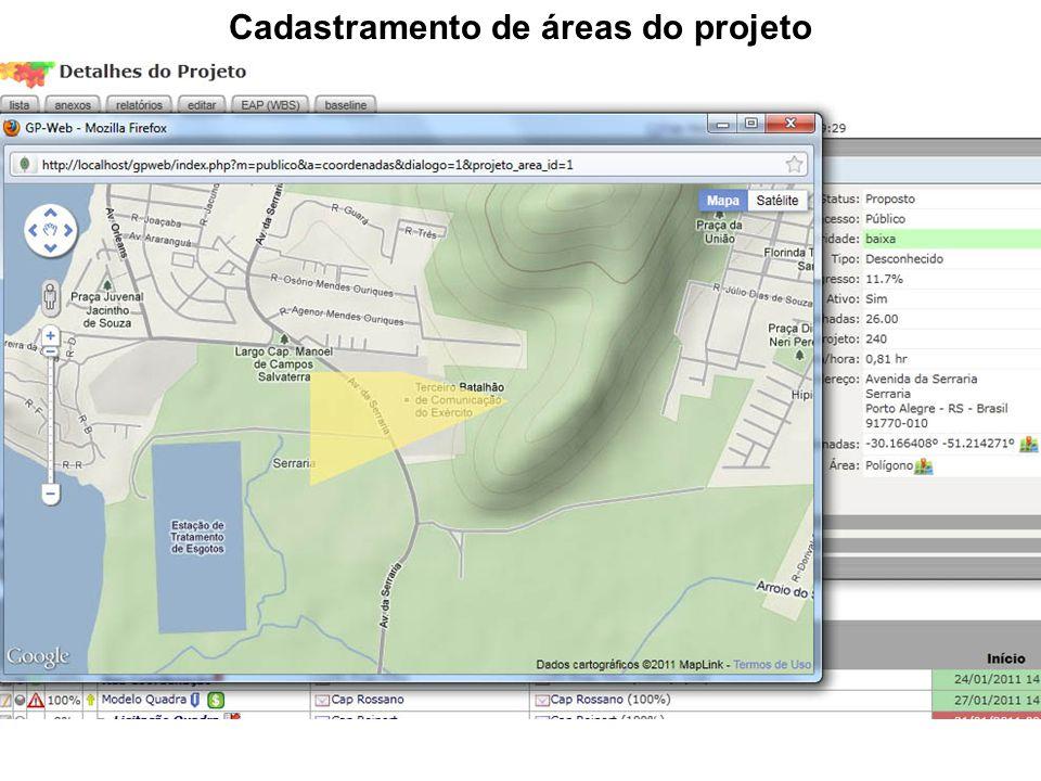 Cadastramento de áreas do projeto