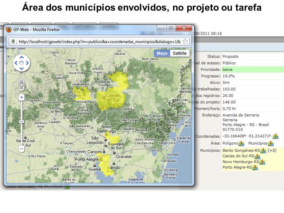 Área dos municípios envolvidos, no projeto ou tarefa