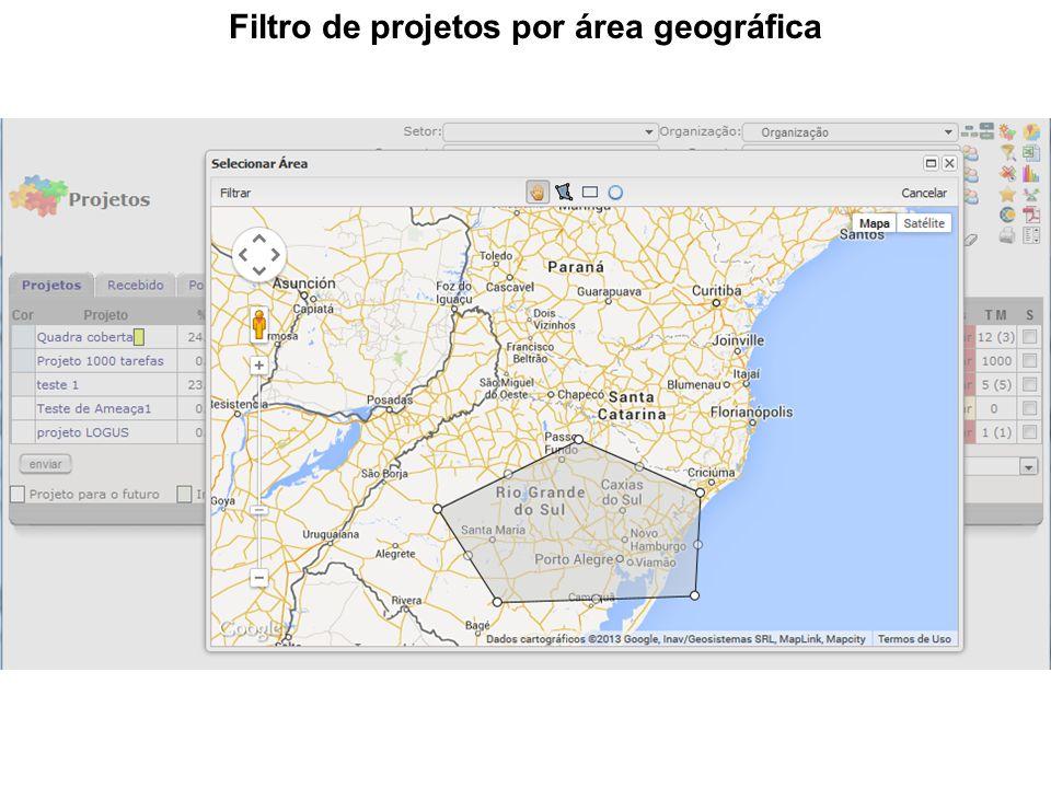 Filtro de projetos por área geográfica