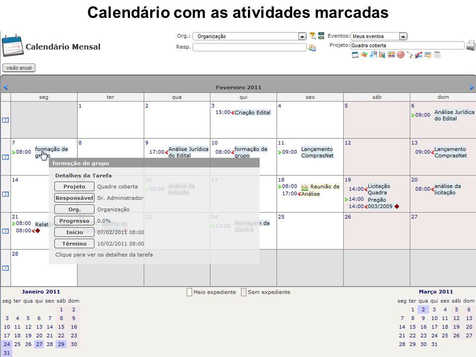 Calendário com as atividades marcadas