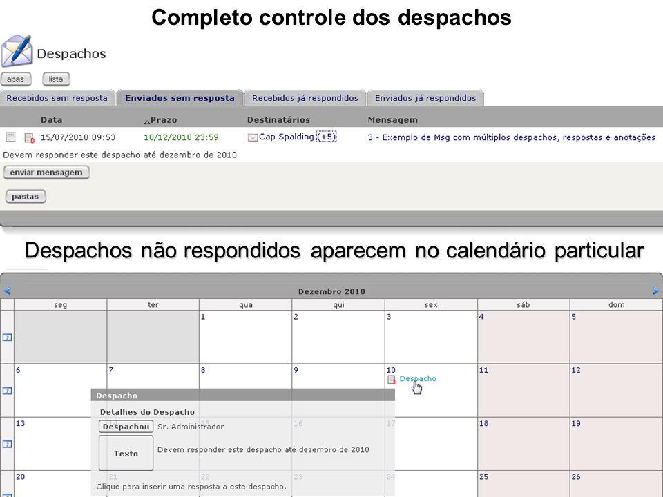 Completo controle dos despachos Despachos não respondidos aparecem no calendário particular