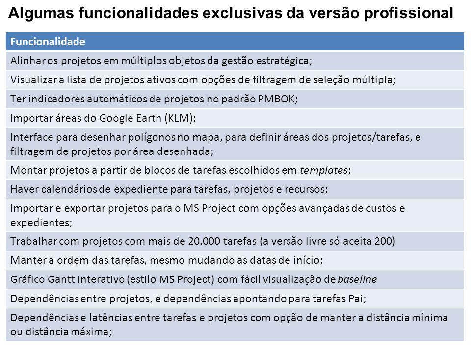 Algumas funcionalidades exclusivas da versão profissional Funcionalidade Alinhar os projetos em múltiplos objetos da gestão estratégica; Visualizar a