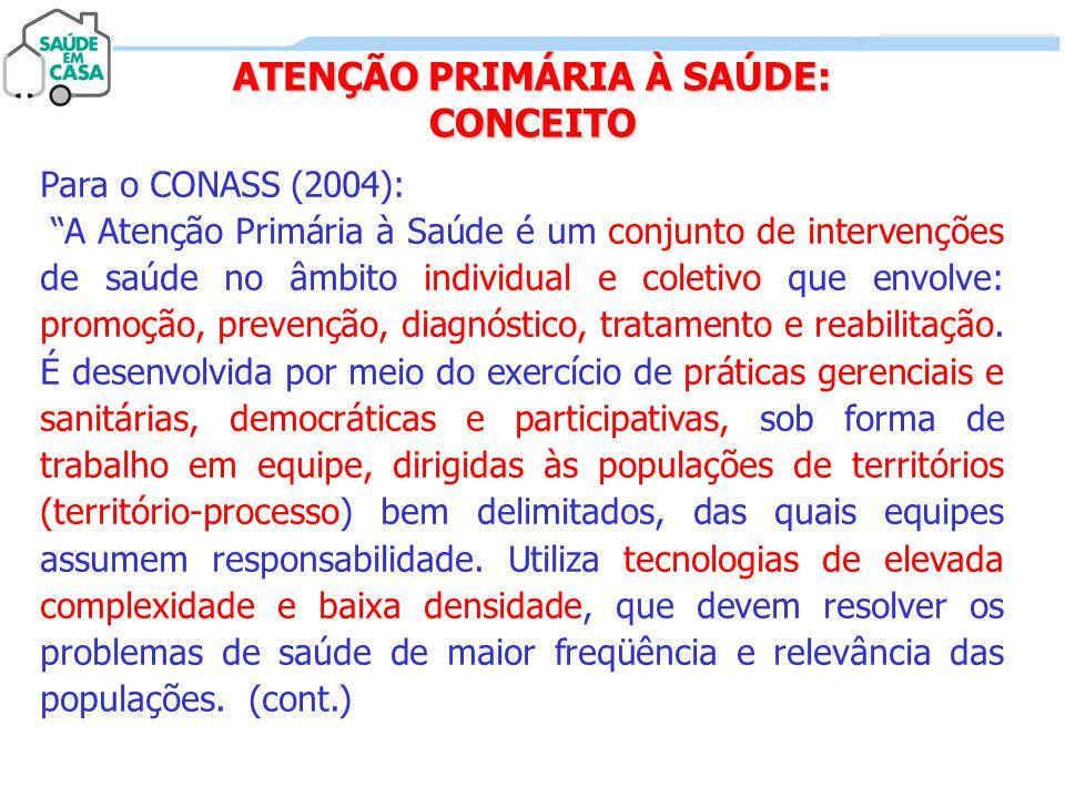 """ATENÇÃO PRIMÁRIA À SAÚDE: CONCEITO Para o CONASS (2004): """"A Atenção Primária à Saúde é um conjunto de intervenções de saúde no âmbito individual e col"""