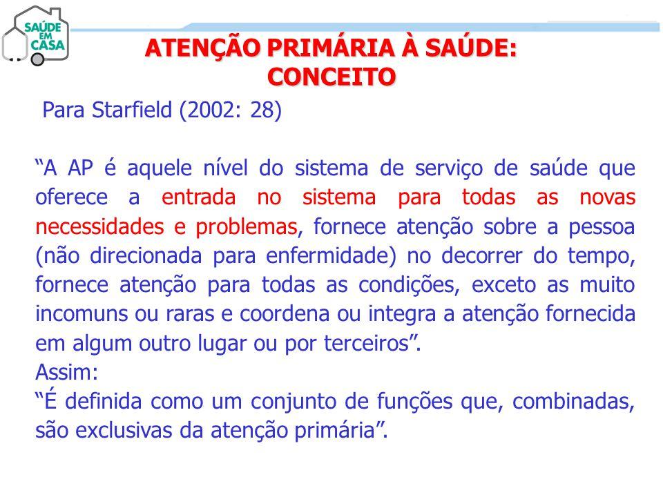 """ATENÇÃO PRIMÁRIA À SAÚDE: CONCEITO Para Starfield (2002: 28) """"A AP é aquele nível do sistema de serviço de saúde que oferece a entrada no sistema para"""