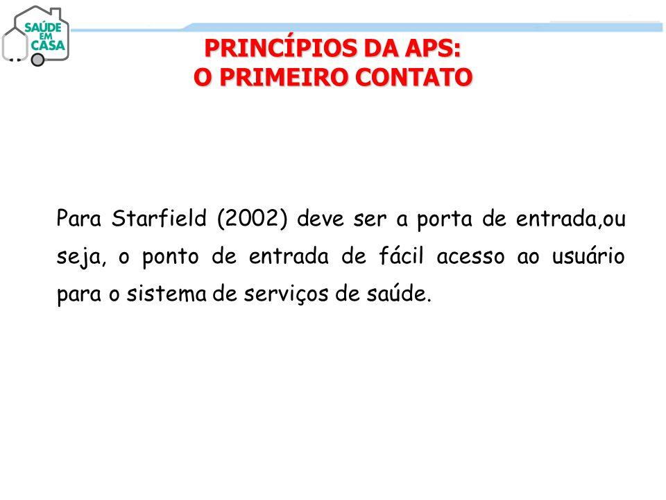Para Starfield (2002) deve ser a porta de entrada,ou seja, o ponto de entrada de fácil acesso ao usuário para o sistema de serviços de saúde. PRINCÍPI