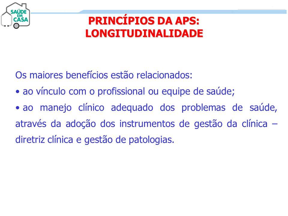 PRINCÍPIOS DA APS: LONGITUDINALIDADE Os maiores benefícios estão relacionados: • ao vínculo com o profissional ou equipe de saúde; • ao manejo clínico