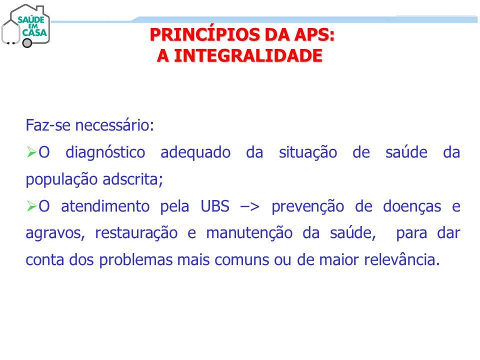PRINCÍPIOS DA APS: A INTEGRALIDADE PRINCÍPIOS DA APS: A INTEGRALIDADE Faz-se necessário:  O diagnóstico adequado da situação de saúde da população ad