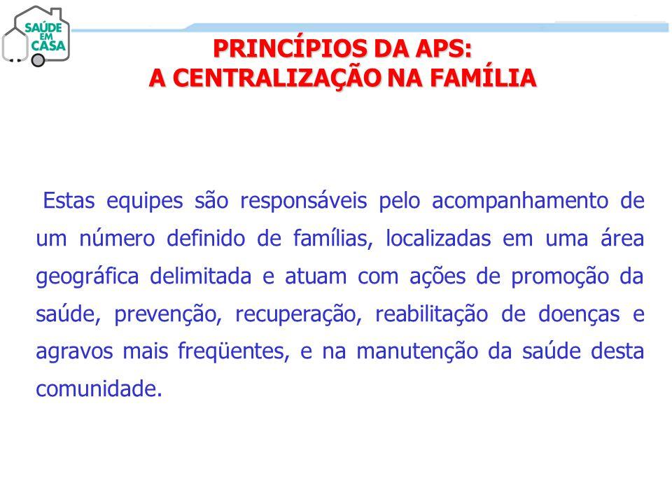 PRINCÍPIOS DA APS: A CENTRALIZAÇÃO NA FAMÍLIA Estas equipes são responsáveis pelo acompanhamento de um número definido de famílias, localizadas em uma
