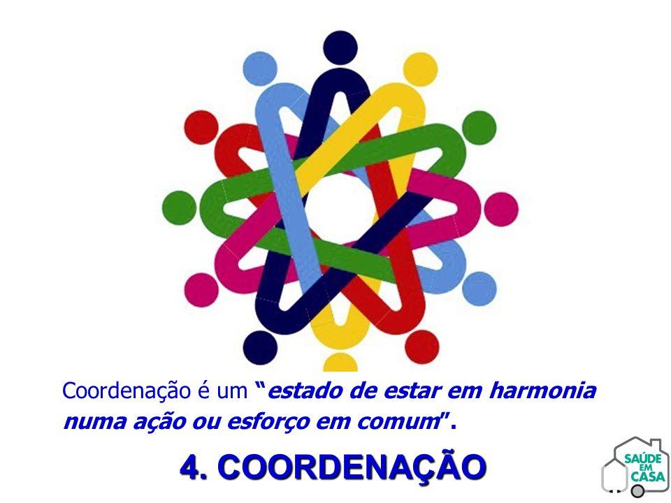 """4. COORDENAÇÃO Coordenação é um """"estado de estar em harmonia numa ação ou esforço em comum""""."""