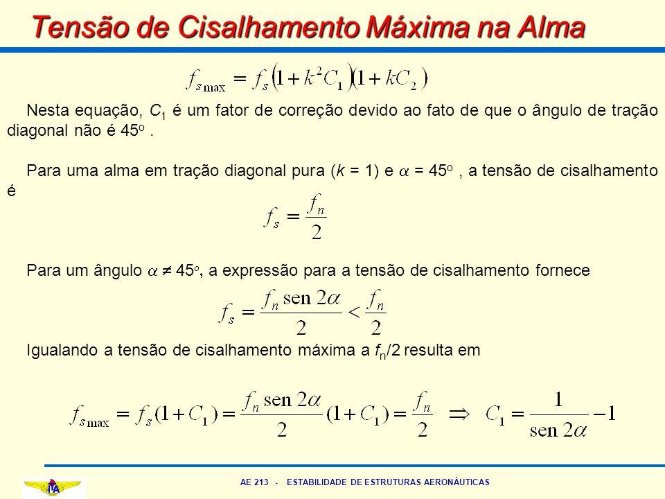 AE 213 - ESTABILIDADE DE ESTRUTURAS AERONÁUTICAS Tensão de Cisalhamento Máxima na Alma Nesta equação, C 1 é um fator de correção devido ao fato de que