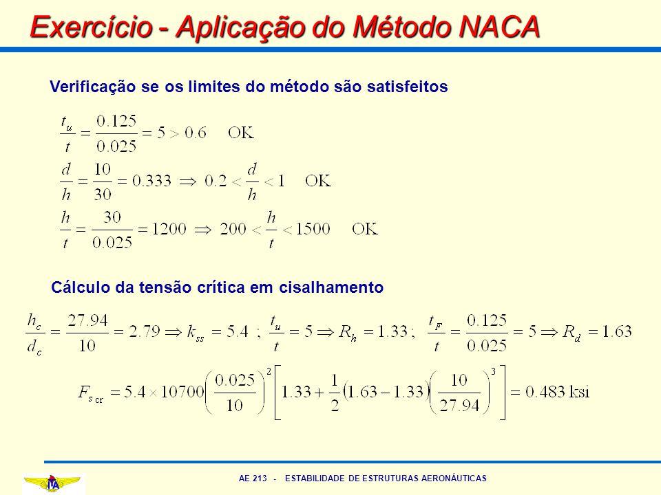 AE 213 - ESTABILIDADE DE ESTRUTURAS AERONÁUTICAS Exercício - Aplicação do Método NACA Verificação se os limites do método são satisfeitos Cálculo da t